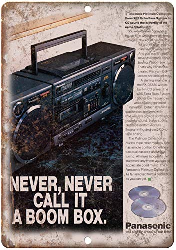 Decorative Vintage Retro Metal Sign Panasonic Boombox Ghetto Blaster Metal Tin Sign 12 X 18 Inches