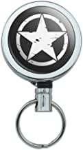 Oscar Mike On Mission Move Vintage Military Star Heavy Duty Metal Retractable Reel ID Badge Key Card Tag Holder with Belt Clip
