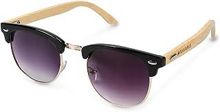 Navaris occhiali da sole in legno filtro UV400 - occhiali con astine in bambù unisex uomo donna - con custodia vintage - d...