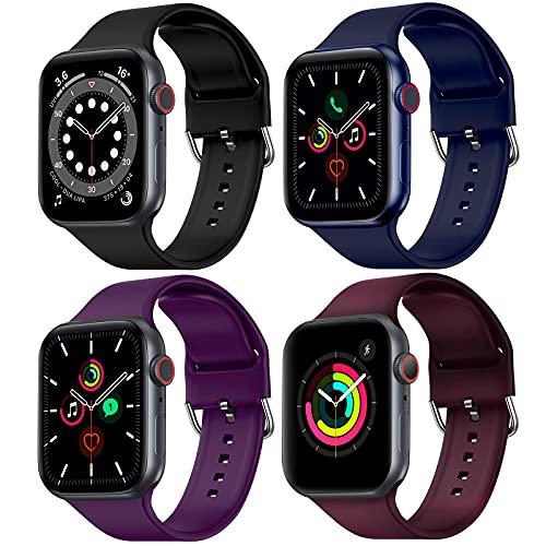 FITA [4 Pack] Correas Compatible con Apple Watch 40 mm 38 mm, Banda de Repuesto de Silicona Suave Compatible con iWatch Series SE/6/5/4/3/2/1 para Mujeres Hombres