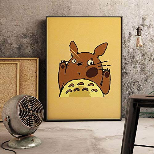 Póster japonés Miyazaki Anime My Neighbor Totoro, decoración artística para habitación de niños, decoración del hogar, decoración de pared, pintura en lienzo (Pt-1533) 50x70cm Sin marco