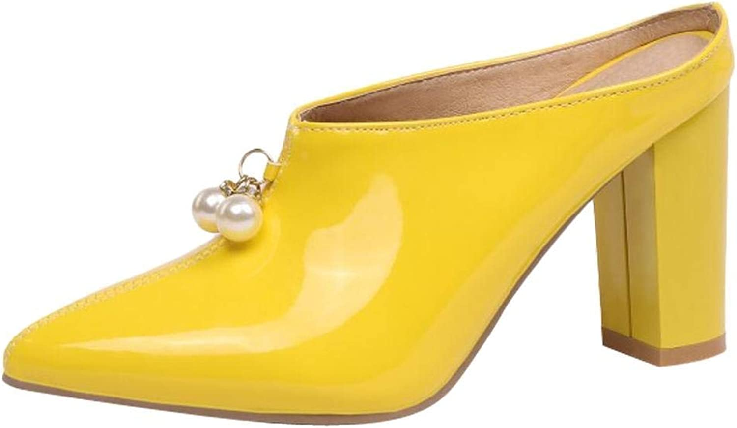 Ghapwe Women's Pointed Toe Chunky Mules shoes Yellow 8 M US