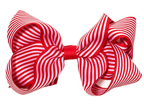 """Anna Belen Girls""""Laurie"""" Large Striped Bow Clip"""
