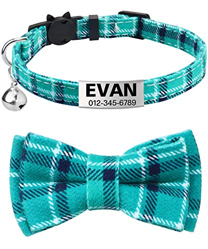TagME Personalized Breakaway Cat Collar with Cute Bow Tie & Bell, Stainless Steel Slide-on Pet ID Tag Engraved with Name & Phone Numbers,1 Pack Teal