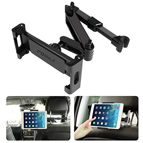 POMILE Soporte Tablet Coche Universal Tablet Asiento Trasero para automóvil Reposacabezas Soporte de Montaje Extensible para Todos 4,6in - 15,6in Compatible con iPad Mini Pro Air, Nintendo Switch