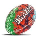 Rhino Ballon de Rugby Graffiti Unisexe, Rouge et Bleu, Taille 5