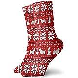 Dydan Tne Árbol de Perro de Navidad Figura geométrica roja Calcetines de...