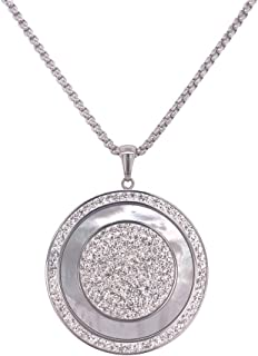 Bevilles Stainless Steel Mother of Pearl Disc Necklace Pendant