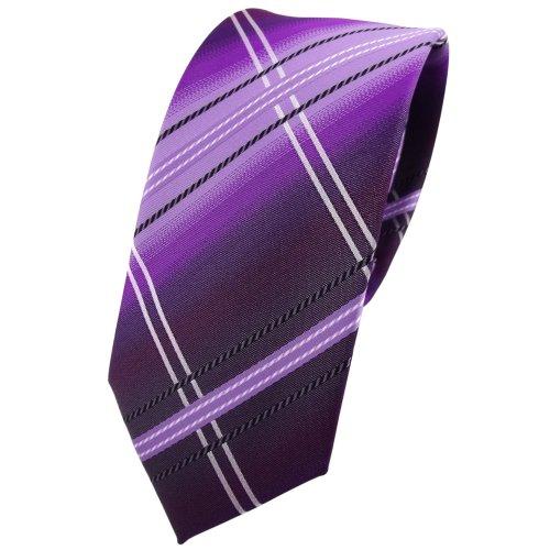 TigerTie - corbata estrecha - morado lila negro blanco plata rayas