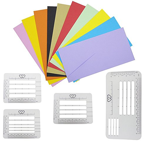 Envelope Addressing Guide Stencil, Adv-one 4Pcs Letter Template Rulers for Writing, Sewing, Thank You Card, Mother's Day, Wedding Invitations, DIY Labels Crafts