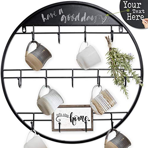 AJART Coffee Mug Rack 228quot / 13 Hooks Large Black Wall Mounted Organizer Rack with Hooks Coffee Cup Hangers and Coffee Mug Holder for Wall