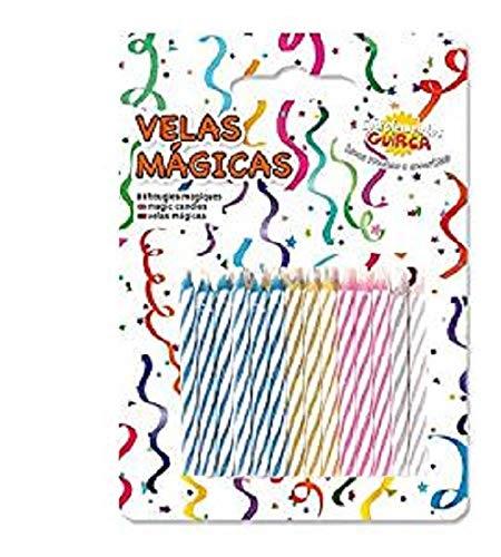 hojas, 24mágicas de colores con llama que no se, apagado, velas expositor para Cumpleaños y...