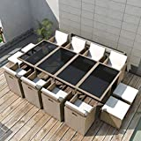 Tidyard Garten Essgruppe 33-TLG. Gartenmöbel-Set Poly Rattan Glas Tischplatte Tisch und Stuhl Sitzgruppe für Garten und Terrasse