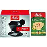 Melitta Pour Over Coffee Cone Brewer & #2 Filter Natural Brown Combo...