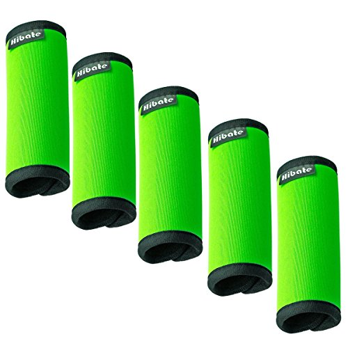 Hibate Comfort Neoprene Luggage Handle Wraps Grip - Fluorescent Green, Pack of 5