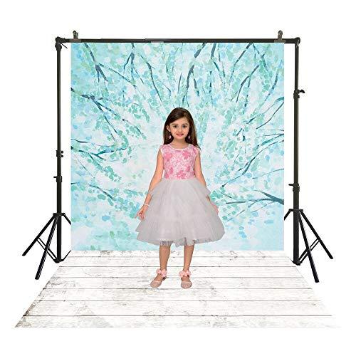 SM-1121 Cyaan bloemen fotografie BackDrops Polyester traditionele Studio Turquoise blauwe Back Drops houten vloer portret Booth achtergronden 150x220cm-poly