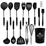 Hkitmart 15pcs Silicone Cooking Kitchen Utensils Set, Best Helper in the Kitchen-Non-stick Heat...