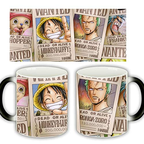 HHGHF Anime One Piece Sauron Zoro Ruffy Gesucht Keramik Farbwechsel Tasse Kaffeebecher-Black_Box_Packing