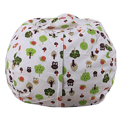 Youngshion - Pouf en toile imprimée amusante pour le rangement des animaux en peluche pour enfants, vêtements et couettes, Toile, Chouettes de la forêt., 18''