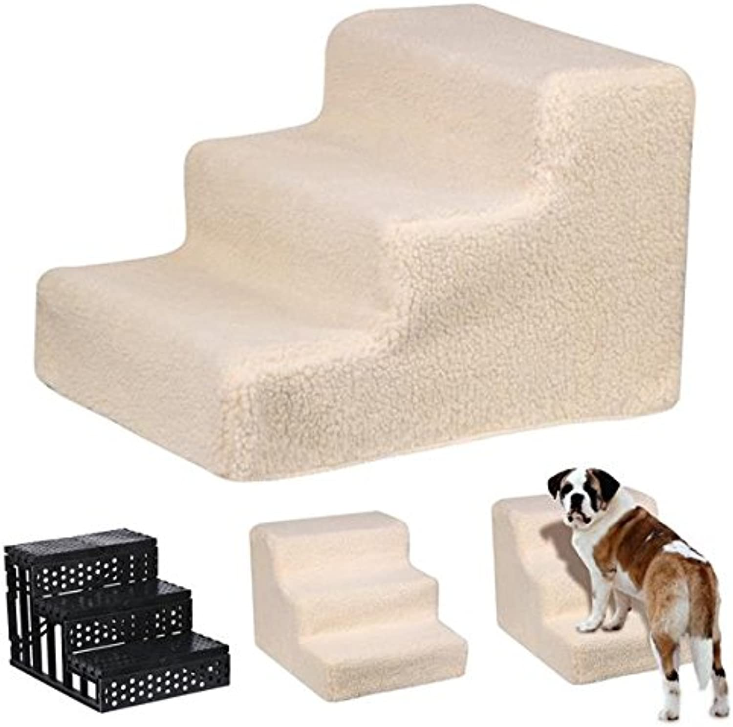 Beyondfashion Pet Cat Dog Little Older Doggy 3 Steps Stairs with Soft Plush Washable Cover