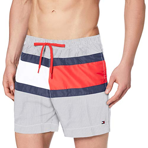 Tommy Hilfiger Herren Medium Drawstring Badehose, Weiß (Ithica Str-Navy), Small