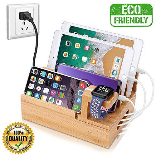 InkoTimes Charging Station with 5-Port USB Charger, Bamboo Charging Station for Multiple Devices of Apple iWatch iPhone iPad Samsung, Universal iOS and Android Cell Phones & Tablets