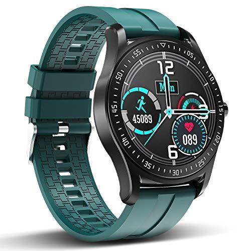 HopoFit Smartwatch, Wasserdicht Fitness Armbanduhr Touch Screen Smart Watch mit Herzfrequenz Schrittzähler 1,3 Zoll Fitness Tracker Sportuhr für Android iOS Damen Herren (Grün)
