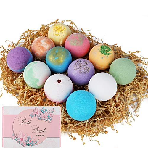 HOVNEE Bath Bombs Gift Set 12 Pack, Natural Bath Ball with Sea Salt, Cocoa Butter, Shea Butter & Vitamin E for Bubble & Spa Bath Dry Skin Moisturize Birthday Best Gifts Idea for Women, Girls, Kids