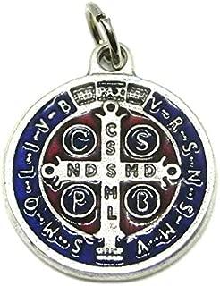60.048.31Medalla de San Benito plata esmaltado a mano Tamaño 2cm con anilla