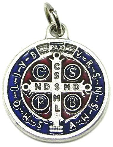 GTBITALY 60.048.31 medalla de San Benito de plata esmaltada a mano, tamaño 2 cm con anilla.