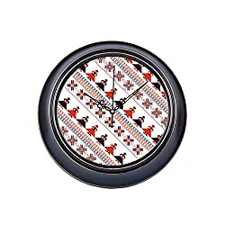 14 Inch Large Silent Non Ticking Wall Clock Seamless Traditional Romanian Pattern Printing Round Metal Clock Wall Decor Quality Quartz Battery Operated Quiet Clock For Home Office School Bedroom