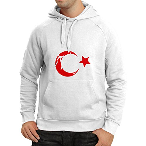 lepni.me Sweatshirt à Capuche Manches Longues Türkiye Cumhuriyeti Armoiries de la Turquie, Chemises politiques (XXX-Large Blanc Magenta)