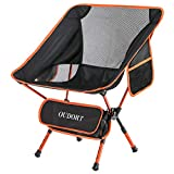 Oudort Portable Camping Chair, Ultralight Folding chairs with Backpacks and Storage Pockets, Max Hold to 300 Pounds, Suitable for Outdoor activities, Camping, Picnics, Hiking and Travelling (Orange)