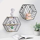 Wandregal 2er Set aus Holz und Metall Praktisch Holzregal mit Böden Natur Stil Regal Küchenregal Metallregal Hexagon Vintage (Schwarz)