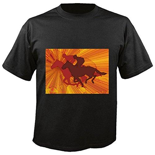T-shirt Remera Silueta? Paardrijdsport, wedstrijd, paard, dressage-hoofd van de Cowboy Riding Rodeo paard semental van het paard in zwart