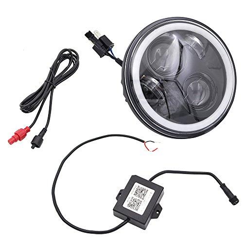BJ Global 14,6 cm rond 40 W phares LED RVB multicolore Halo Bague LED téléphone Bluetooth App télécommande basse et haute Faisceau LED Lampe frontale Conduite léger