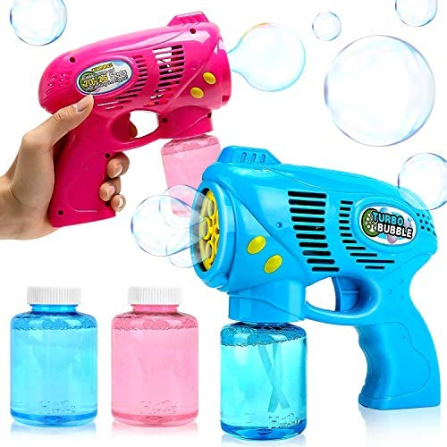 YiCutte 2 Bubble Guns with 2 Bottles Bubble Refill Solution for Kids Bubble Blaster Party Game product image