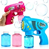 YiCutte 2 Bubble Guns with 2 Bottles Bubble Refill Solution for Kids,Bubble Blaster Party Game,Fun Summer Toy,Outdoors Activity