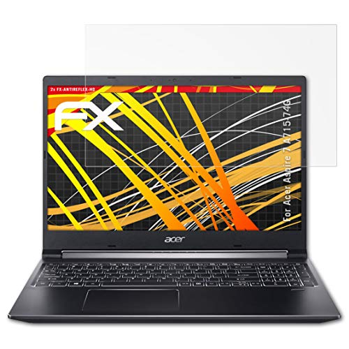 atFolix Schutzfolie kompatibel mit Acer Aspire 7 A715-74G Bildschirmschutzfolie, HD-Entspiegelung FX Folie (2X)