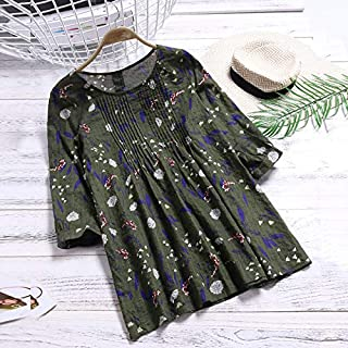 Andoer Vintage Women Cotton Blouse Floral Print O-Neck 3/4 Sleeve Casual Loose Shirt Tee Tops Yellow/Green/Blue