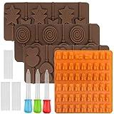 FineGood 4 moldes de chocolate para piruleta, con 3 cuentagotas
