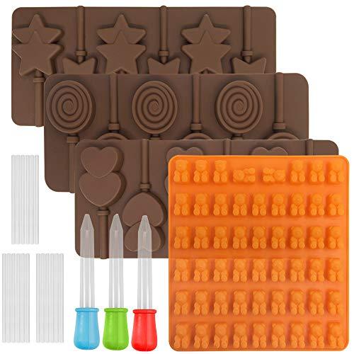 FineGood 4 moldes de chocolate para Lollipop, con 3 cuentagotas