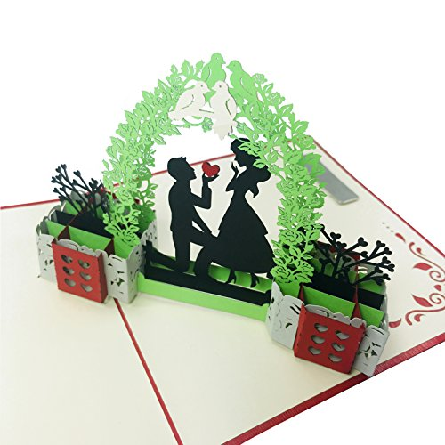 In Love Couple (Original) - Wow 3D Pop Up Greeting Card   Suitable for Love, Engagement, Wedding, Proposal, Anniversary, Birthday - Hand Assembled, Fold Flat, Envelope Included