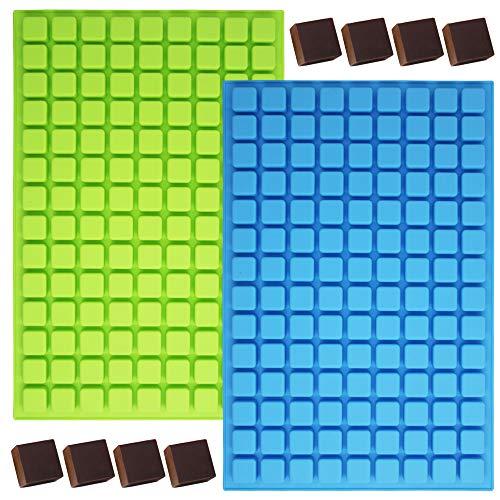 YuCool Mini-Silikonform mit 126 Mulden, quadratisch, für Schokolade, Süßigkeiten, Eiswürfel, mit 1 Edelstahl-Tablett, für hausgemachte Gummis, Gelee, Trüffel, Pralinen, Karamellblau, Grün, 2 Stück
