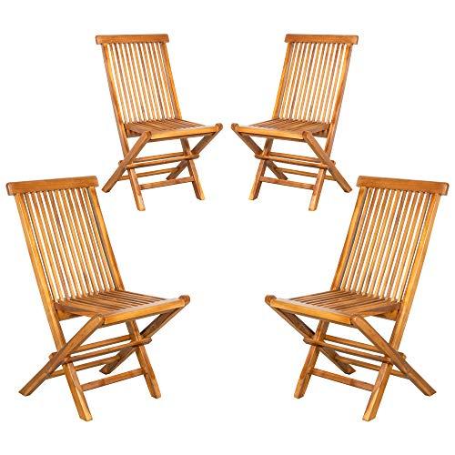 ib style® Royal Teak chaises Pliantes   Teck certifié   traité à Base d'eau   Lot DE 4