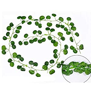 Artificial and Dried Flower Artificial Flowers String 2.1 M Green Hanging Flower Vine Plant Leaves Garland for Party Home Garden Wall Decoration