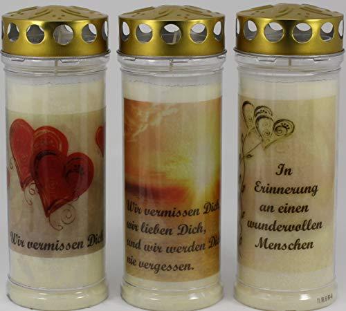 Kerzen Junglas 3 Grablichter, Grabkerzen, 3er Set- 21x7,5 cm - 3863 - ca. 7 Tage Brenndauer je Grablicht – Trauerkerze mit Motiv und Spruch - Motivkerze - Gedenkkerze