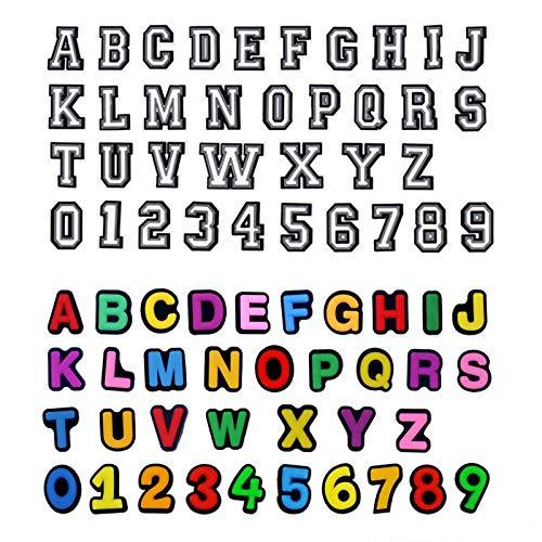 72 ciondoli per scarpe con numero di lettere in PVC, per scarpe, decorazioni fai da te, con lettere e numeri colorati, per scarpe, bracciali, numeri 0-9, lettera A-Z