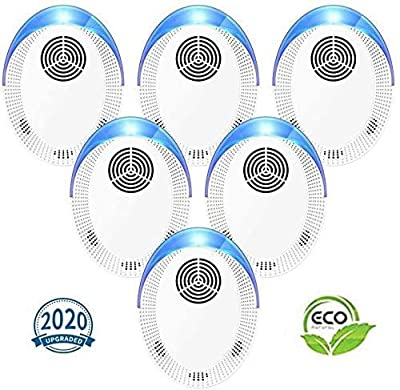 Ultrasonic Pest Repeller 6 Pack, 2020 Upgraded Pest Repellent, Pest Control Set of Electronic Plug in Indoor for Pests