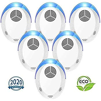 Ultrasonic Pest Repeller 6 Pack, 2020 Upgraded Pest Repellent,Pest Control Set of Electronic Plug in Mosquito Repellent Indoor for Flea, Mosquitoes, Mice, Spiders, Ants, Roaches, Humans & Pets Safe